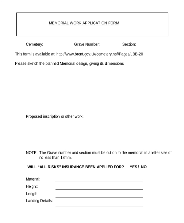 memorial work application form