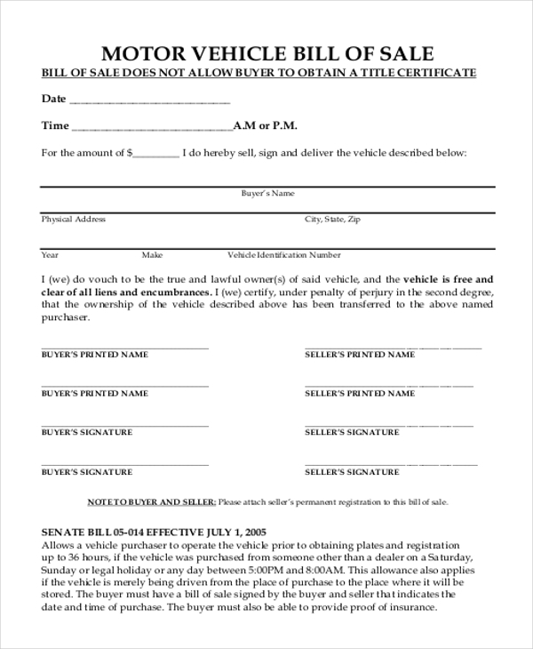 Sample bill of sale form for vehicle 8 free documents for Free motor vehicle bill of sale