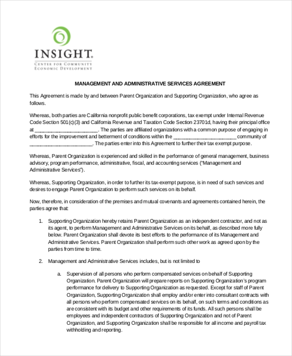 Management Service Agreement Template Vosvetenet – Free Service Agreement Template