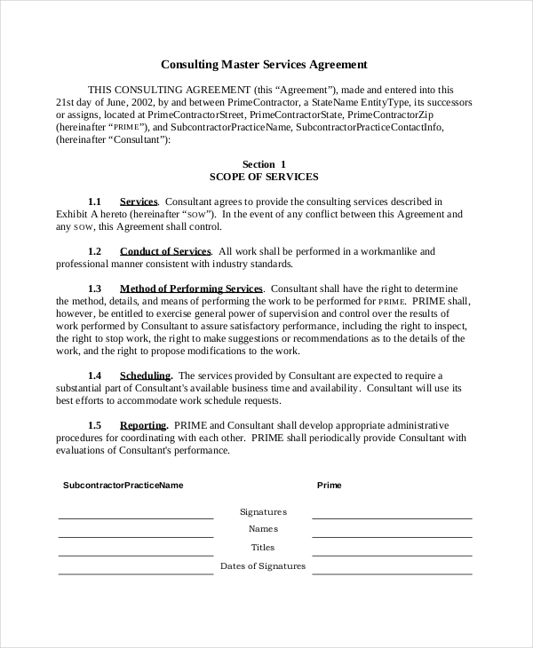 Free Master Service Agreement Consulting Form