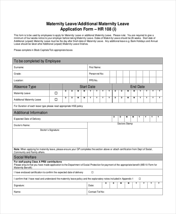 7 sample leave application forms sample example format maternity leave application form thecheapjerseys Image collections