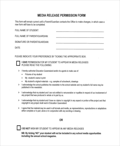 media release permission form