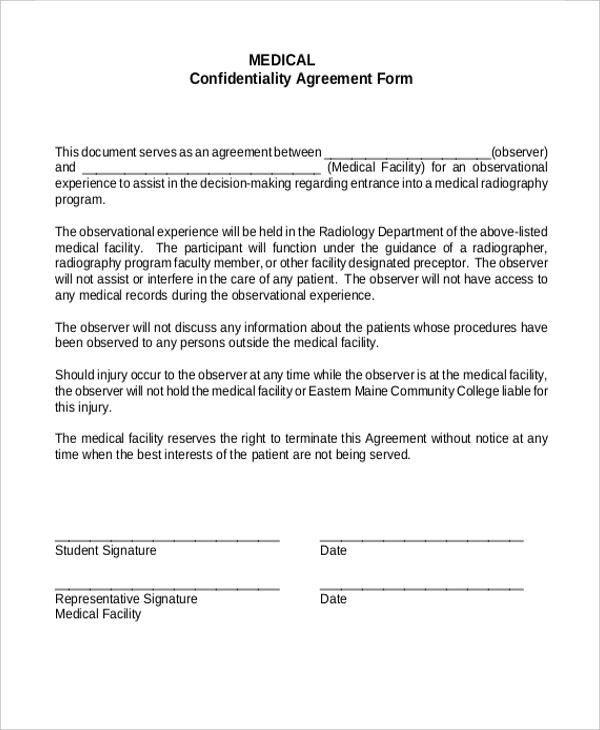 Sample Confidentiality Agreement Form   9+ Free Documents In Doc, Pdf