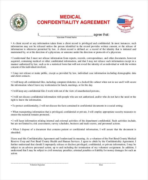 10 Sample Confidentiality Agreement Forms Free Sample Example – Medical Confidentiality Agreement