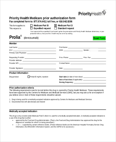 Elegant Medicare Prior Authorization Form In PDF