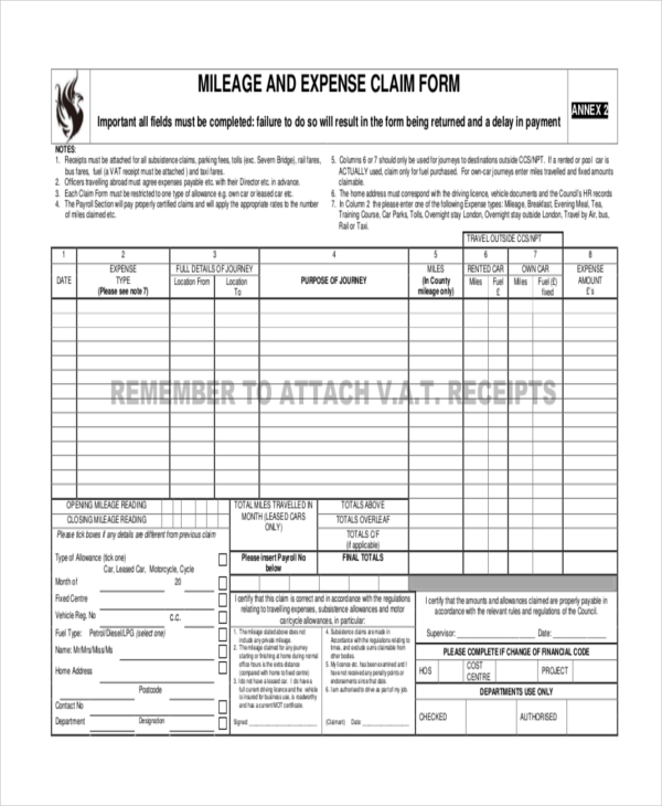 mileage expense report form
