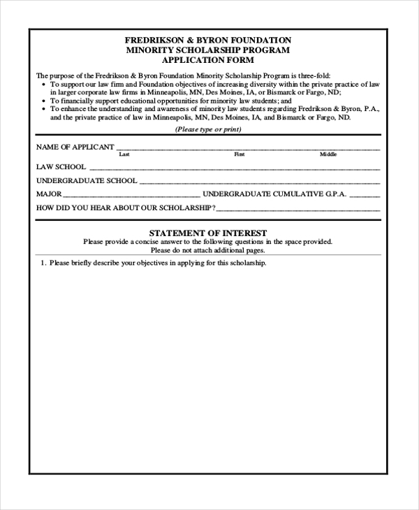 minority scholarship application form