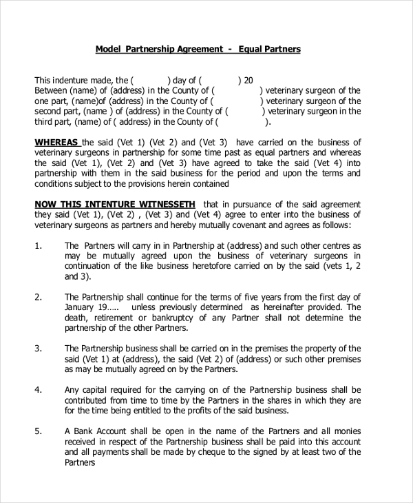 model partnership agreement