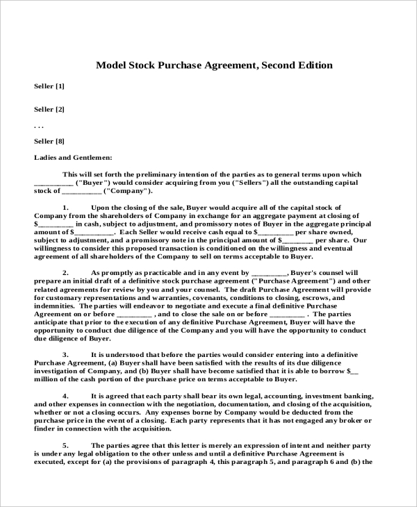 model stock purchase agreement