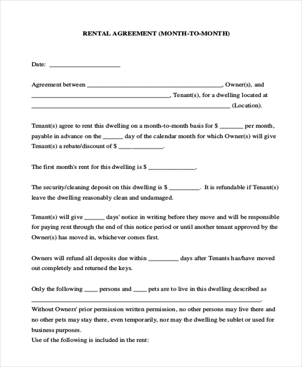 Example Of Month To Month Rental Agreement Form