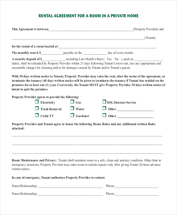 Room Rental Agreements. Sample Room Rental Agreement Template Room