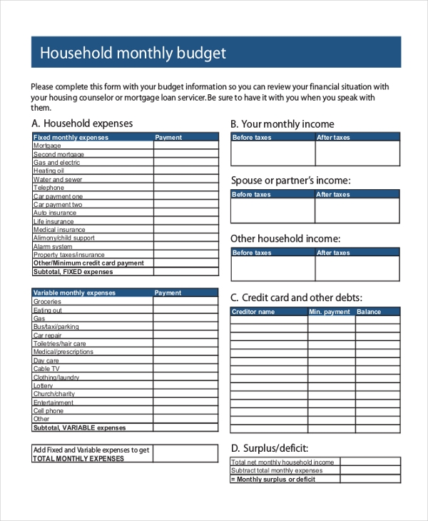 monthly household budget form