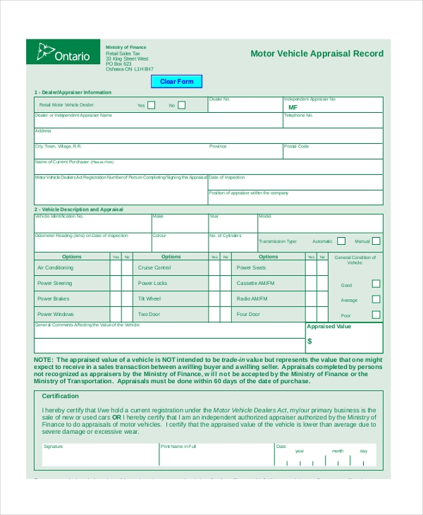 7 Sample Vehicle Appraisal Forms Sample Example Format – Vehicle Appraisal Form