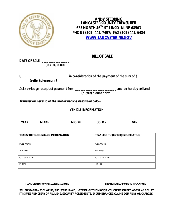 Sample Motorcycle Bill Of Sale Form   Free Documents In Doc Pdf