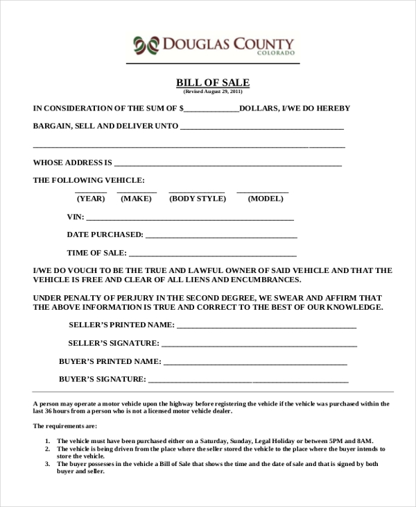 Sample Motorcycle Bill Of Sale Form - 7+ Free Documents In Doc, Pdf
