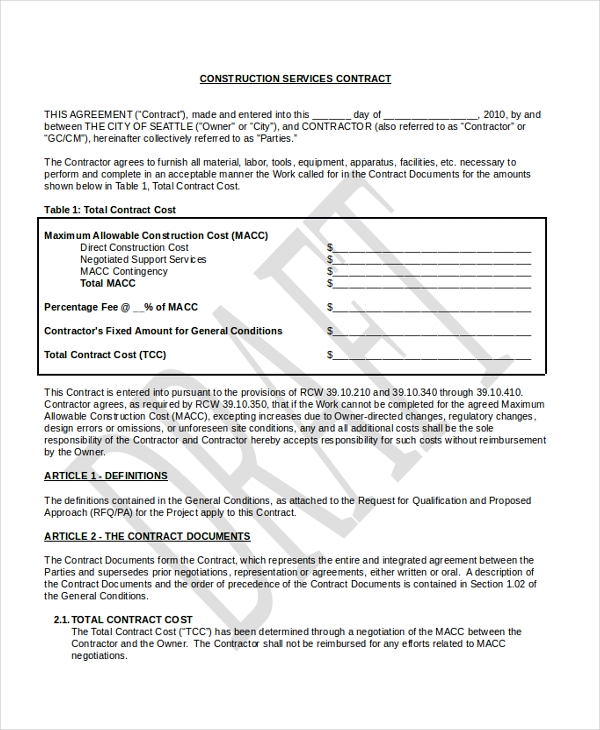 Sample Construction Contract Form   Free Documents In Pdf
