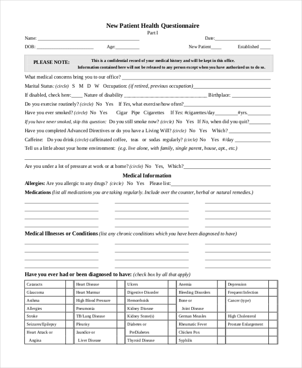 Sample patient health questionnaire form 8 free for Health questionnaire form template
