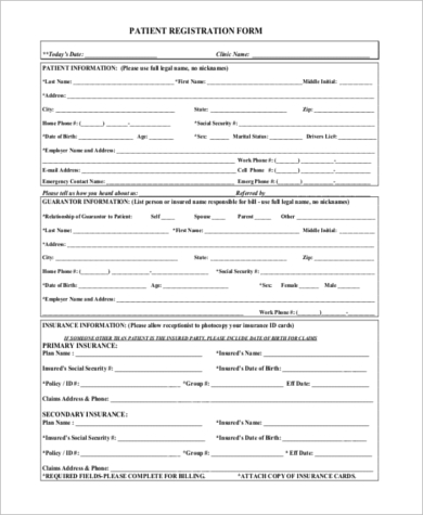 Patient Registration Form Samples   Free Documents In Pdf