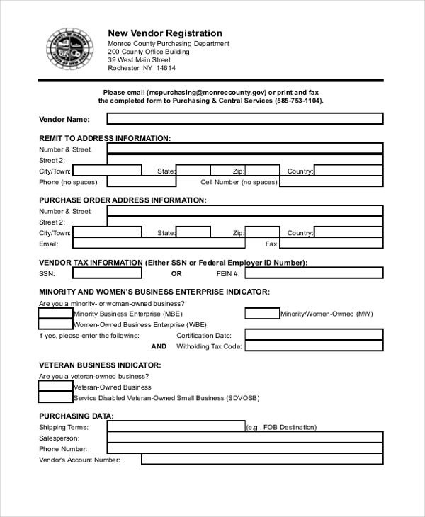 Sample Vendor Application Forms  Sample Example Format