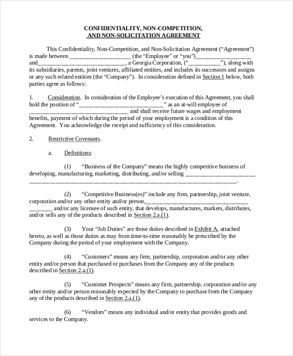 Sample sales agreement form 10 free documents in pdf doc non compete agreement for sales representative platinumwayz