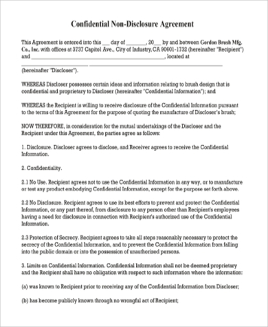 Non Disclosure Agreement Sample   Free Documents In Word Pdf