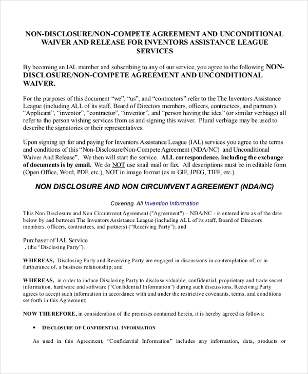 non circumvention non disclosure agreement template - sample non disclosure agreement forms in pdf 8 free