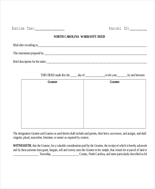 Sample Warranty Deed Forms   Free Documents In Doc Pdf