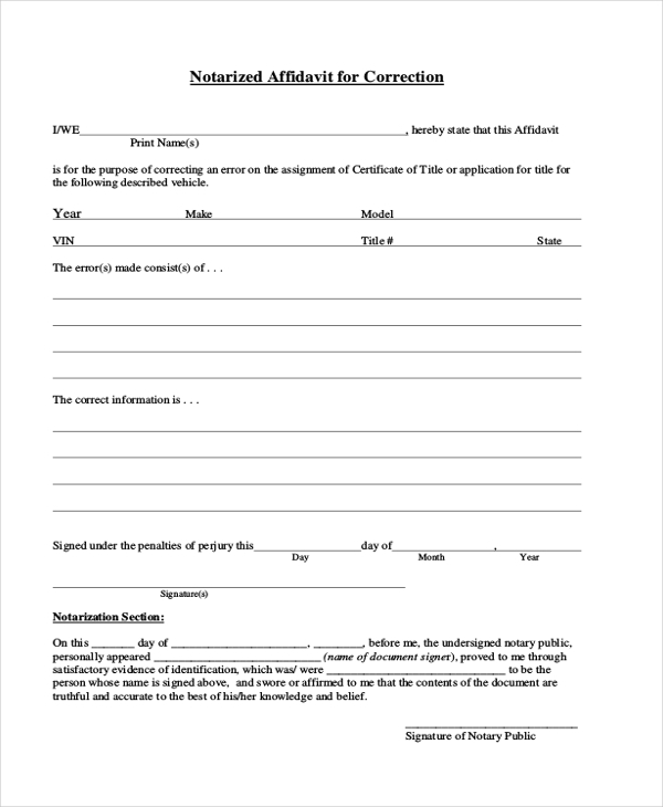 Notarized General Affidavit Form Sample  General Affidavit Sample