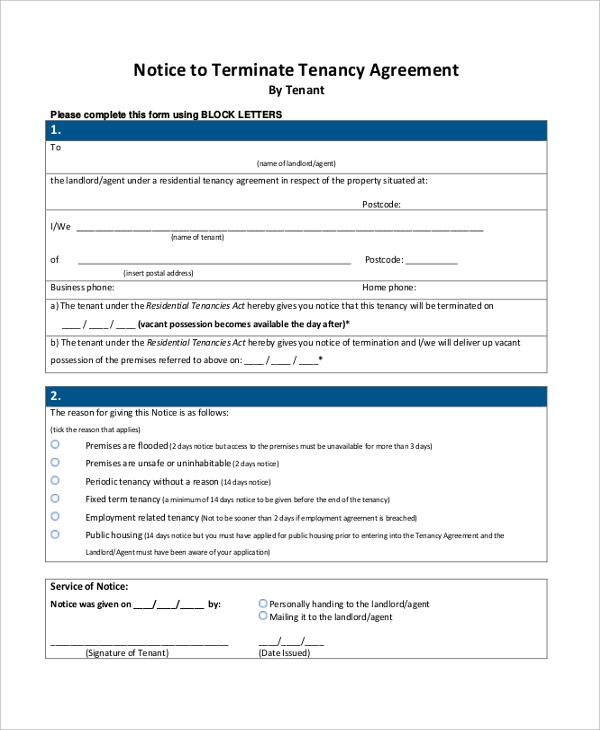 notice to terminate tenancy agreement