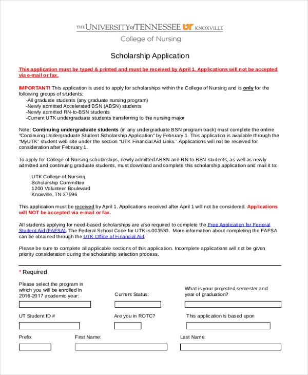 Sample Scholarship Application Form 9 Free documents in PDF – Scholarship Application Form