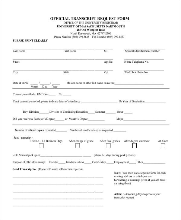 official transcript request form