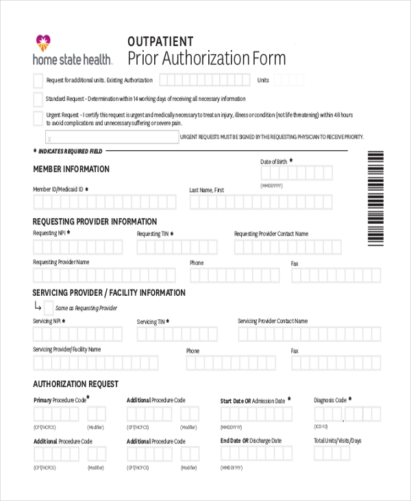 outpatient prior authorization form