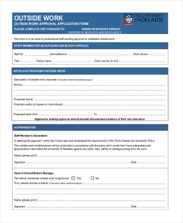 OUTSIDE-WORK-APPROVAL-APPLICATION-FORM Va Job Application Form on job search, job vacancy, job payment receipt, job letter, contact form, job opportunity, cover letter form, agreement form, job requirements, job applications online, job applications you can print, employee benefits form, job resume, cv form, job openings, job advertisement,