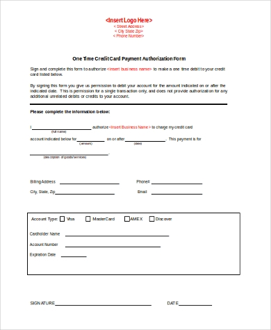 Credit Card Authorization Form Samples   Free Documents In Word Pdf