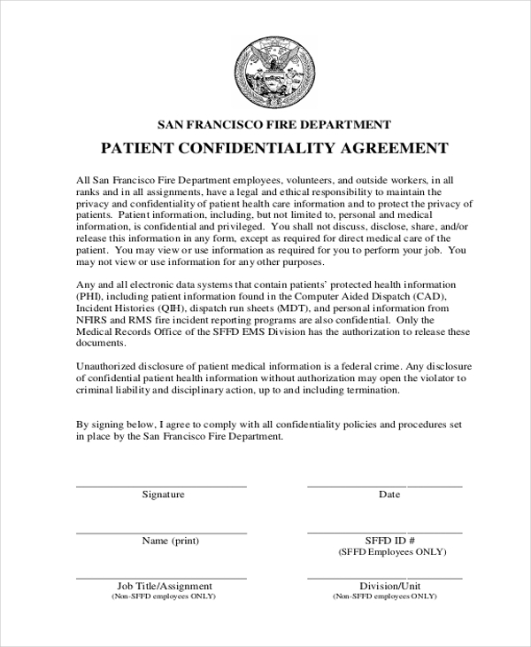 Patient Confidentiality Agreement Form