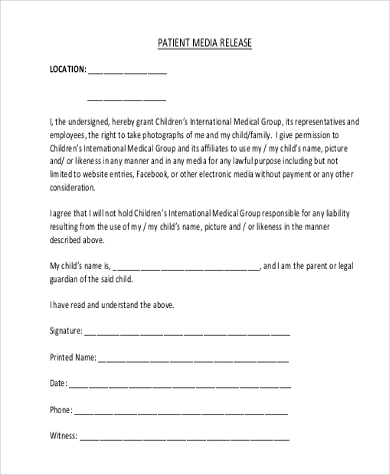 media release form template