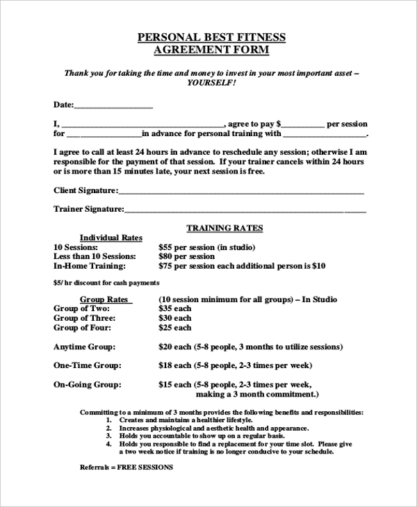 10 sample personal agreement forms free sample example for Personal trainer contract templates