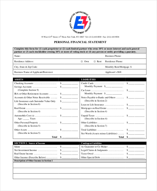 Sample Financial Statement Form   Free Documents In Pdf