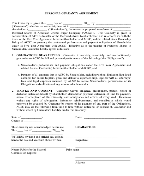 10 Sample Personal Agreement Forms Free Sample Example Format