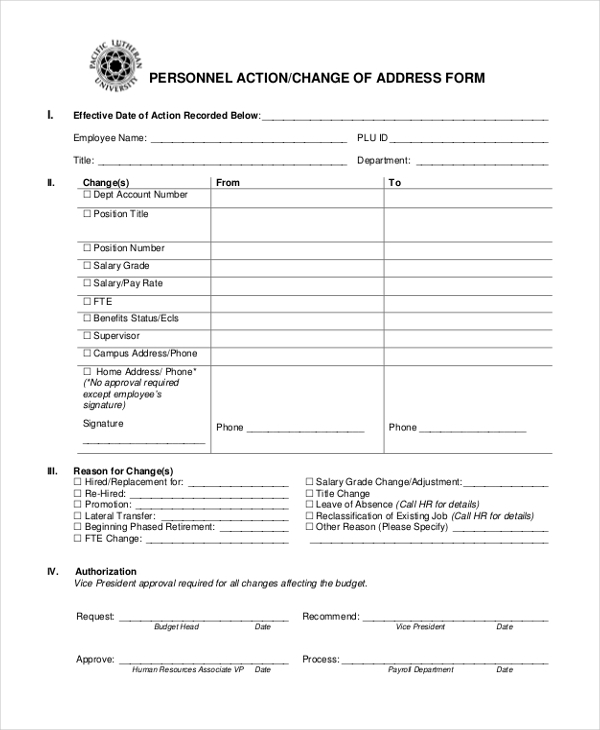 personnel action change of address form