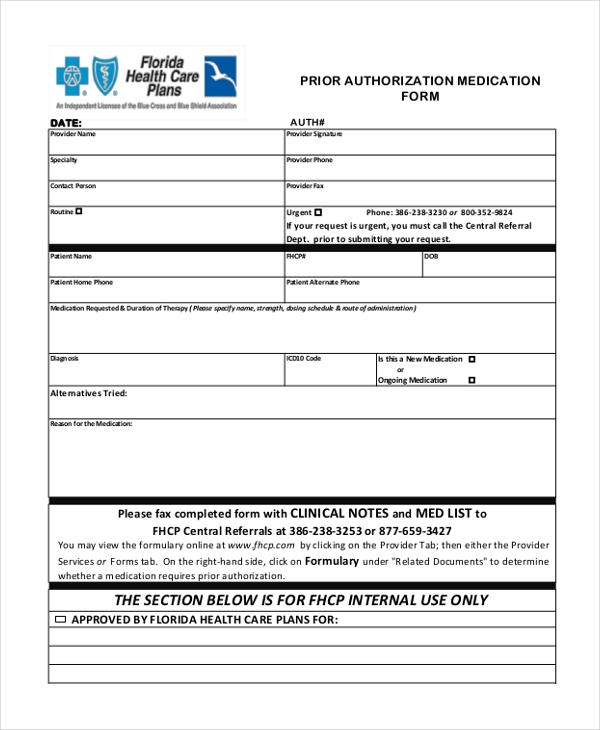 Sample Prior Authorization Form   Free Documents In Pdf