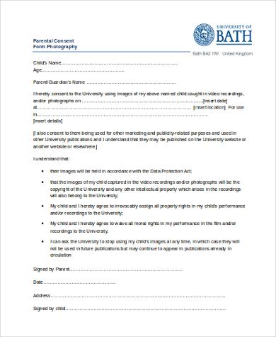 parental consent form photography