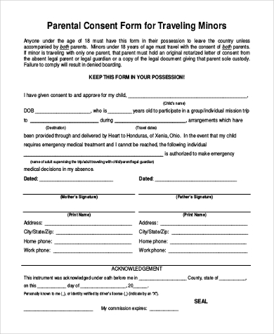 parental consent form for traveling minors