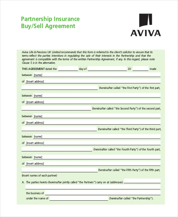 free partnership buysell agreement form