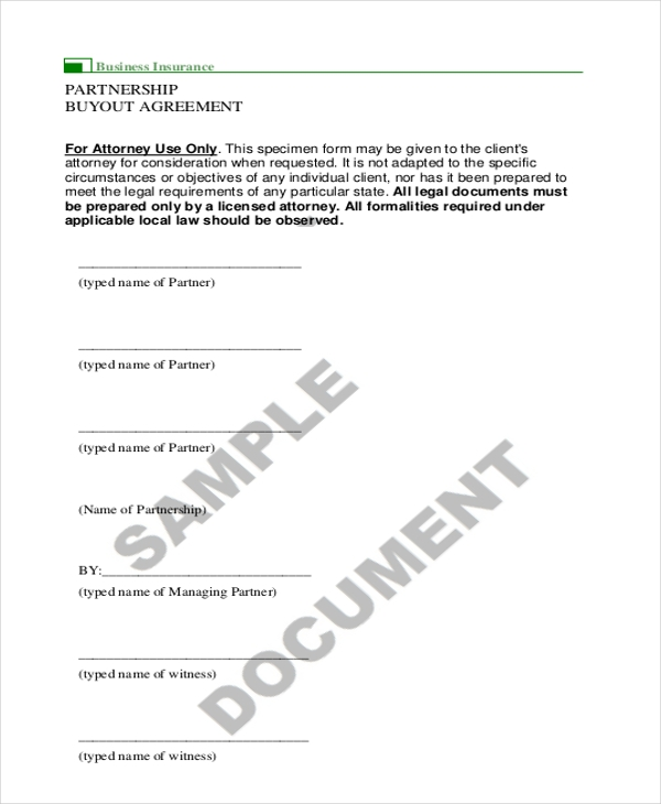 Sample Partnership Agreement Forms  Free Sample Example Format
