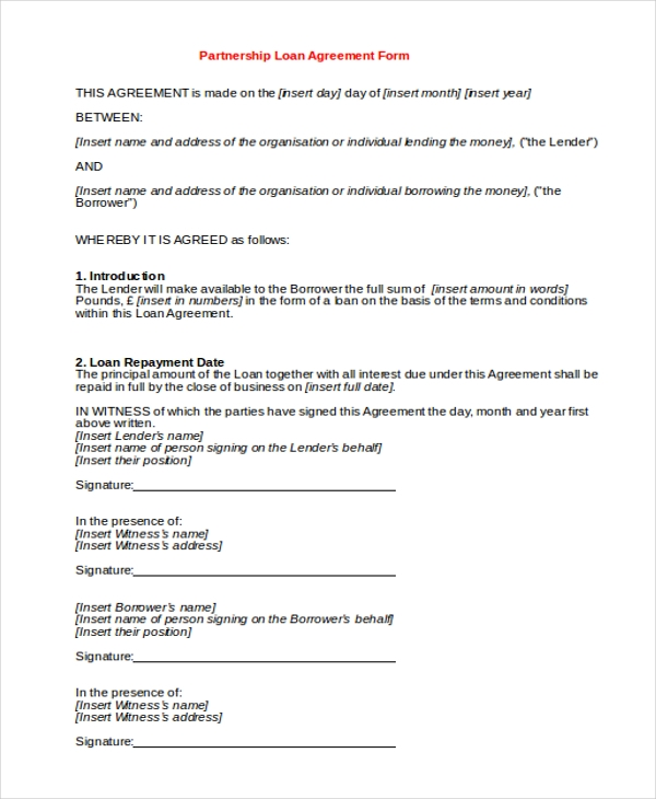 partnership loan agreement form