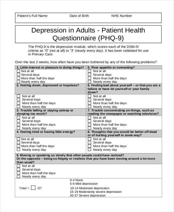sample patient health questionnaire form 8 free documents in pdf doc