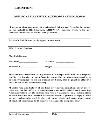 patient medicare authorization form