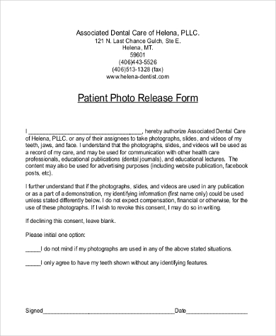 Photo Release Form Samples   Free Documents In Word Pdf