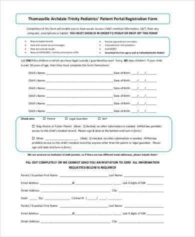 patient portal registration form